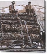 Hauling Logs Historical Vignette Canvas Print