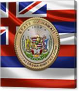 Hawaii Great Seal Over State Flag Canvas Print