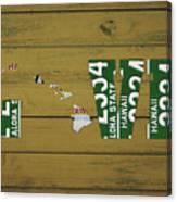 Hawaii State Love License Plate Art Phrase Canvas Print