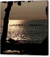 Hawaiian Dugout Canoe Race At Sunset Canvas Print