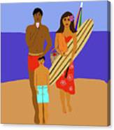 Hawaiian Family Beach Scene Canvas Print