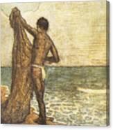 Hawaiian Fisherman Painting Canvas Print