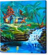 Hawaiian Hut And Waterfalls Canvas Print