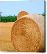 Hay Bale With Crane Canvas Print