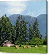 Hay Bales And A Barn - Kalispell Montana Canvas Print