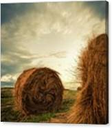 Hay Bales On Farm Field Canvas Print
