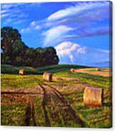 Hay Rolls On The Farm By Christopher Shellhammer Canvas Print