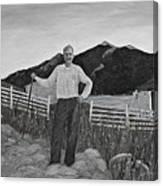 Haymaker With Pitchfork B W Canvas Print