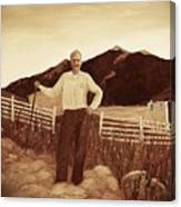 Haymaker With Pitchfork Vintage Canvas Print