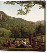 Haymakers Picnicking In A Field Canvas Print