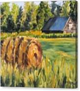 Hayroll And Barn Canvas Print