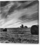Hayrolls And Field Canvas Print