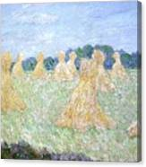 Haystacks The Young Ladies Of Giverny Sun Effect Canvas Print
