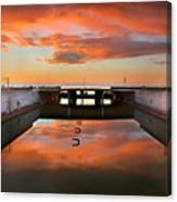 Hdr Sunset Over Harbor And Graffiti Canvas Print
