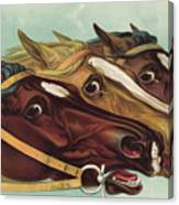 Head And Head At The Winning Post Canvas Print