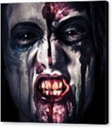Head Shot On A Pure Evil Zombie Girl Canvas Print