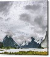 Heads In The Clouds Panorama At Milford Sound Canvas Print