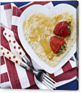 Healthy Breakfast Oats On Heart Shape Plate Canvas Print