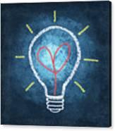 Heart In Light Bulb Canvas Print