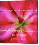 Heart Of A Flower With Bible Verses Canvas Print