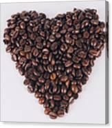 Heart Of Coffee Beans Canvas Print
