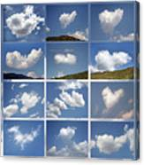Heart Shaped Clouds - Collage Canvas Print