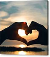 Heart Shaped Sunset Canvas Print