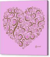 Heart With Pink Flowers And Swirls Canvas Print
