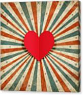 Heart With Ray Background Canvas Print