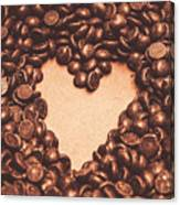 Hearts And Chocolate Drops. Valentines Background Canvas Print