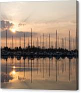 Heavenly Sunrays - Peaches-and-cream Sunrise With Boats Canvas Print