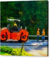 Heavy Tandem Vibration Roller Compactor At Asphalt Pavement Works For Road Repairing 2 Canvas Print