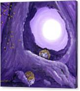 Hedgehogs In Purple Moonlight Canvas Print