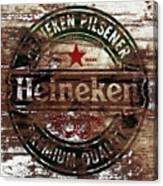 Heineken Beer Wood Sign 1a Canvas Print