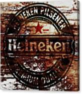 Heineken Beer Wood Sign 1j Canvas Print