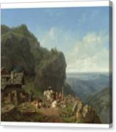 Heinrich Burkel 1802 - 1869 German Wirtshaus Auf Der Alm Mit Alpzug Tavern In The Alps Canvas Print