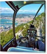 Helicopter On Gibraltar Rock Canvas Print