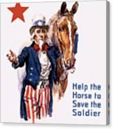 Help The Horse To Save The Soldier Canvas Print