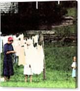 Helpin Momma..amish Wash Day Canvas Print
