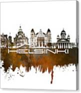 Helsinki Skyline City Brown Canvas Print