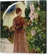 Henri Emile De Sachy France 19th Century Elegant Young Lady In The Garden Walk At Hollyhocks Canvas Print