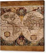 Henry Hondius Seventeenth Century World Map Canvas Print