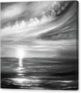 Here It Goes - Square Sunset In Black And White Canvas Print