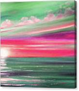 Here It Goes In Teal And Magenta Panoramic Sunset Canvas Print