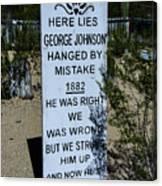 Here Lies George Johnson - Old Tucson Arizona Canvas Print
