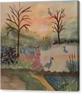 Heron's Hangout At Sunrise Canvas Print