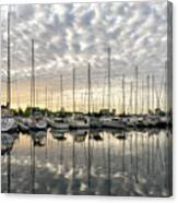 Herringbone Sky Patterns With Yachts And Boats  Canvas Print