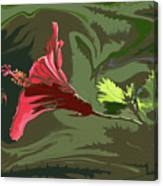 Hibiscus Dark And Light Photopainting 1 Canvas Print