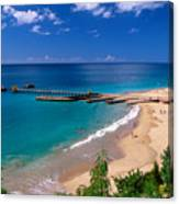 High Angle View Of A Pier On Crashboat Beach Puerto Rico. Canvas Print
