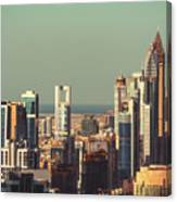 High-angle View Of Dubai's Towers At Sunset.  Canvas Print